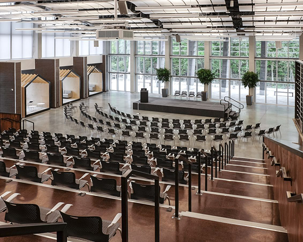 Large auditorium fitted with audio visual technologies